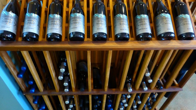 wine selections in rack